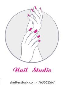 women hands with manicure, fashion salon symbol vector