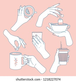 Women hands set. Hands holding tea and coffee caps and mugs. Coffee lovers. Feminine illustration. Vector illustration