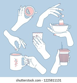 Women hands set. Hands holding tea and coffee cups and mugs. Feminine illustration. Vector illustration