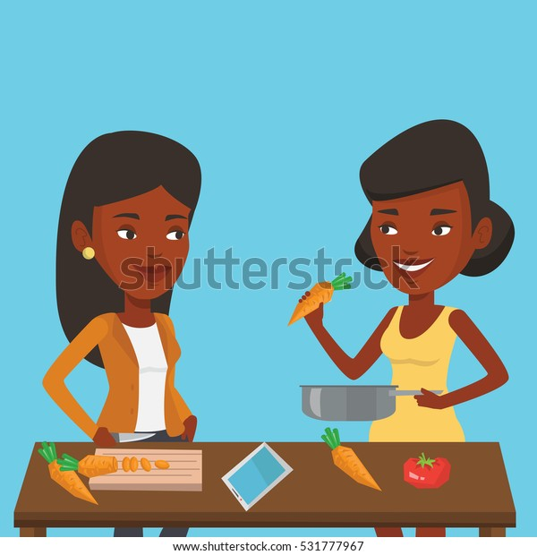 African friends having fun at barbecue party. Two african-american women  preparing meat on the barbecue and drinking beer.