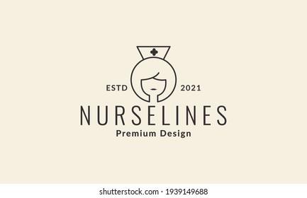 women head lines nurse logo vector symbol icon design illustration
