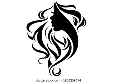 Women head silhouette icon.Vector EPS10