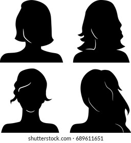 Women heads silhouettes
