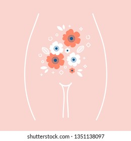 Women health illustration. Woman stomach with the flowers inside. Vector illustration