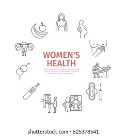 Women Health. Line icons set. Vector signs for web graphics.