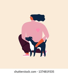 Women and her dog in a park illustration in vector. Friendship poster or card.