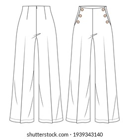 Women High Waist Sailor Pant Vector Fashion Flat Sketches. Fashion Technical Illustration Template. Flare Wide legs. Button detail