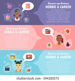 Women hobbies and career banners with flat icons about video blogging and vlog, beauty and healthy lifestyle, raw vegan cooking, wild nature exploration and camping. Character avatars with girls.