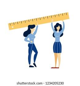 Women holding big ruler in hands. Equipment for measurement. Idea of design. Flat vector illustration