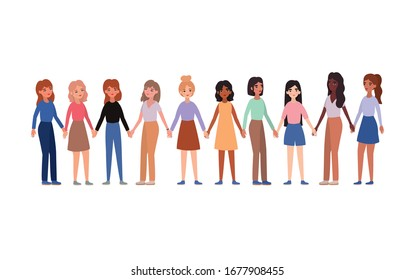 Women holding hands design of empowerment female power feminist people gender feminism young rights protest and strong theme Vector illustration