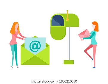 Women holding letter, female with paper in envelope, portrait and side view of people. Green postbox isolated on white, empty cover, communication vector