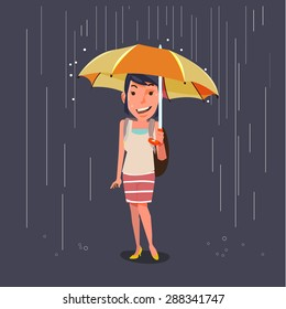 women holding umbrella in raining. character design. season concept - vector illustration