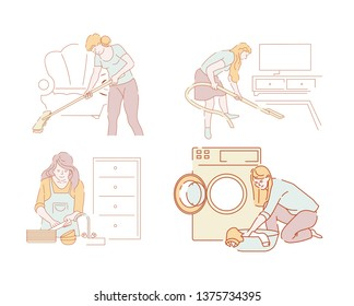 Women or housewives and housework cleaning and household chores vector hoovering and dishwashing laundry vacuum cleaner and washing machine living room and kitchen furniture laundromat housekeeping