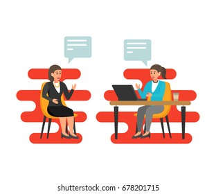 Women HR interviews an employer with a potential employee .Employee & boss meeting. Job interview CEO or HR officer and candidate. Flat style illustration. Recruitment, Business interview concept