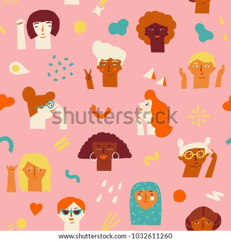 Women international and interracial faces seamless pattern. Women empowerment movement pattern. International womens day graphic in vector.