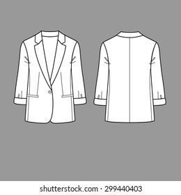 Women jacket, coat, blazer. Vector. Back and front.