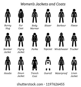 Women jackets and coats. Stick figure pictogram depicts a set of different type of jackets and coats. This fashion clothing designs are wear by woman, females, ladies, and girls.