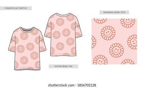 Women jersey T shirt with happy flower all over print. Fashion Cad design. Flat sketches technical drawings Illustrator vector template. Seamless Retro Positive Flower Illustration.