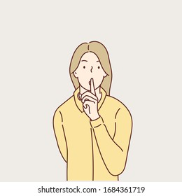 Women keeping finger on her lips and asking to keep quiet.Hand drawn style vector design illustrations.