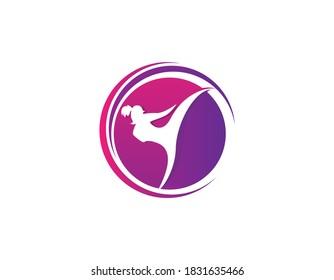 women kickboxing symbol logo design illustration.