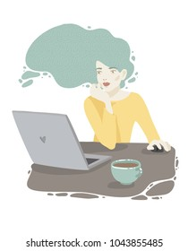 Women with laptop. Vector illustration. Fashion illustration