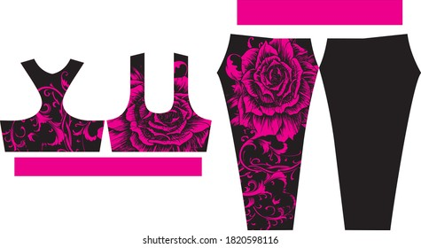 Women Leggings and Sports Bras design adjust in pattern vectors