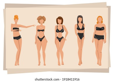 Women in lingerie showing different body shapes. Female body types: apple, pear, triangle, rectangle, sand molds. Vector illustration.