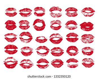 Women lips set. Hand drawn watercolor lips isolated on white background. Fashion and beauty illustration.