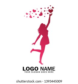 Women logo reaching for love, reach heart logo