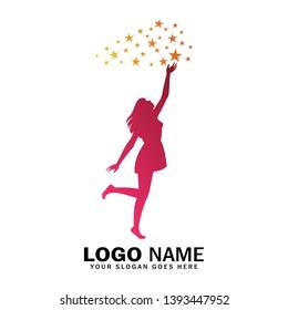 Women logo reaching for star, reach star logo