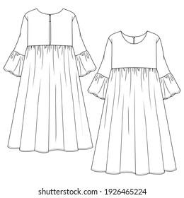 Women Long Dress fashion flat sketch template. Technical Fashion Illustration. Girls Empire Waist Dress with flare sleeve detail. Crew Neck