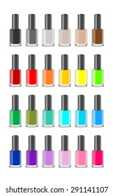 Women make up accessory. Many nail polish bottles set in various rainbow color in glass bottle. Colorful group of closed bright polishes, vector art image illustration isolated on white background