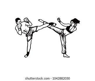 Women and Man do High Kick on the Kickboxing Extreme Sports Hand Drawing Sign Symbol Logo Vector