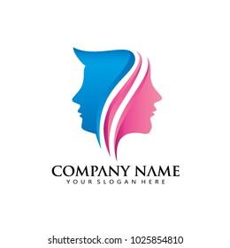 Women Man Modern line Logo Icon