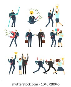 Women and men business people acting in various situation. Vector cartoon employees. Man and woman character in business situation collection