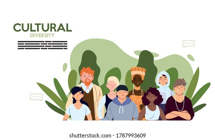 Women and men cartoons with leaves design, Cultural and friendship diversity theme Vector illustration