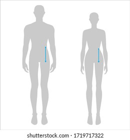 Women and men to do body rise measurement fashion Illustration for size chart. 7.5 head size girl and boy for site or online shop. Human body infographic template for clothes.