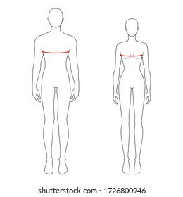 Women and men to do bust measurement fashion Illustration for size chart. 7.5 head size girl and boy for site or online shop. Human body infographic template for clothes.