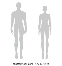 Women and men to do calf measurement fashion Illustration for size chart. 7.5 head size girl and boy for site or online shop. Human body infographic template for clothes.