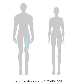 Women and men to do crotch to knee measurement fashion Illustration for size chart. 7.5 head size girl and boy for site or online shop. Human body infographic template for clothes.