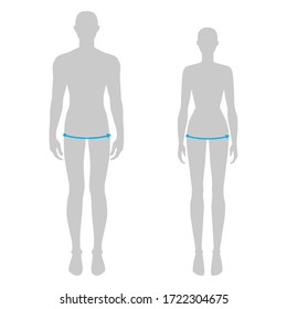 Women and men to do hip measurement fashion Illustration for size chart. 7.5 head size girl and boy for site or online shop. Human body infographic template for clothes.