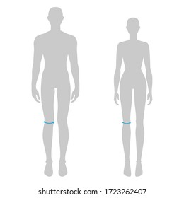 Women and men to do knee measurement fashion Illustration for size chart. 7.5 head size girl and boy for site or online shop. Human body infographic template for clothes.