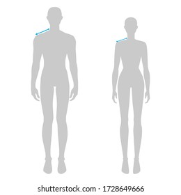 Women and men to do shoulder measurement fashion Illustration for size chart. 7.5 head size girl and boy for site or online shop. Human body infographic template for clothes.