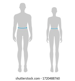 Women and men to do waist measurement fashion Illustration for size chart. 7.5 head size girl and boy for site or online shop. Human body infographic template for clothes.