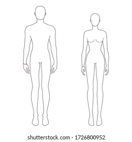 Women and men to do wrist measurement fashion Illustration for size chart. 7.5 head size girl and boy for site or online shop. Human body infographic template for clothes.