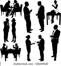 women and men drink wine silhouettes - vector
