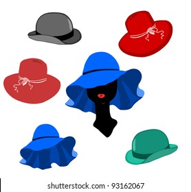 Women and men hats lot vector on white