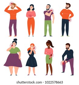 Women and men are holding on to the kidneys, chest, loin, stomach, belly and back. Young people have aches, headache and pains in different part of the body. Flat style vector illustration