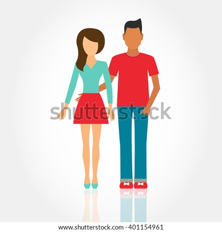 2e3910a757 Royalty-free stock vector images ID: 401154961. Women and men in love,  young people in casual clothes, modern family, happy couple - Vector