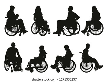 women and men on wheelchairs silhouettes set